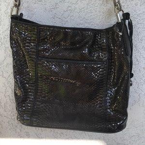 Brighton silver croc bucket bag crossbody black
